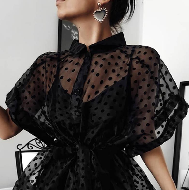 dot appropriate ~ silk polka dot netted party dress