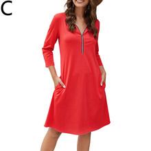 Повседневное женское платье с воротником-молнией, однотонное платье с рукавом три четверти и высокой талией для знаменитостей, элегантное ...(Китай)