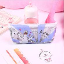 Пенопластовая сумка для ручек, коробка в Корейском стиле с зыбучим песком, маслом, ПВХ, Estuches, Kawaii, прозрачная, блестящая, креативная сумка для...(Китай)