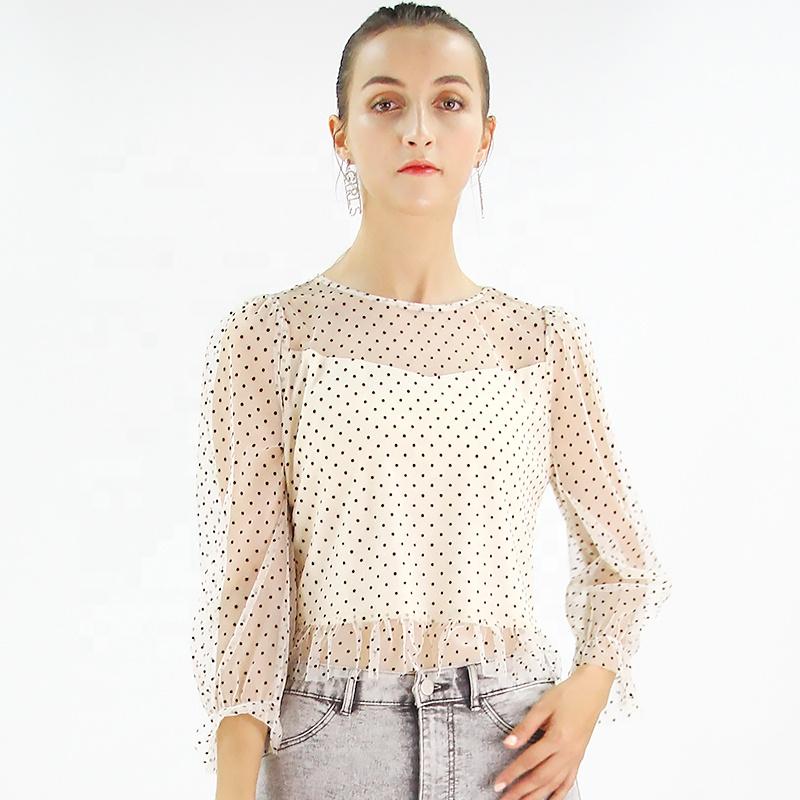 2019 फैशन आकस्मिक थोक लहर बिंदु लंबे आस्तीन ब्लाउज फैशन ब्लाउज महिला फसल शीर्ष साड़ी लड़की ब्लाउज