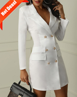 D2924 New Style Button Down Clothes Long Coats Women Blazer Dress