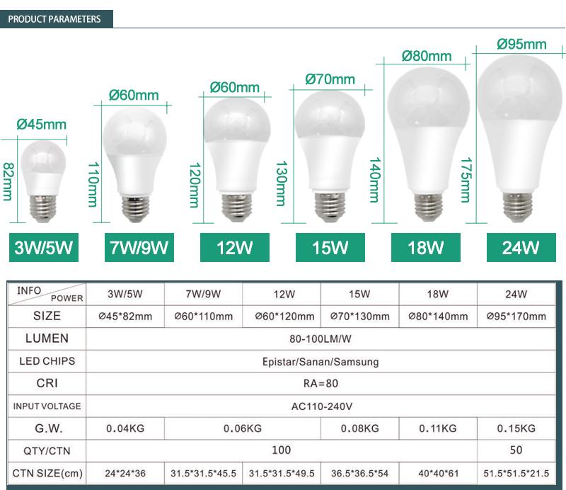 A60 9W led 전구 램프 에너지 절약 원료 7W E27 알루미늄 led 전구