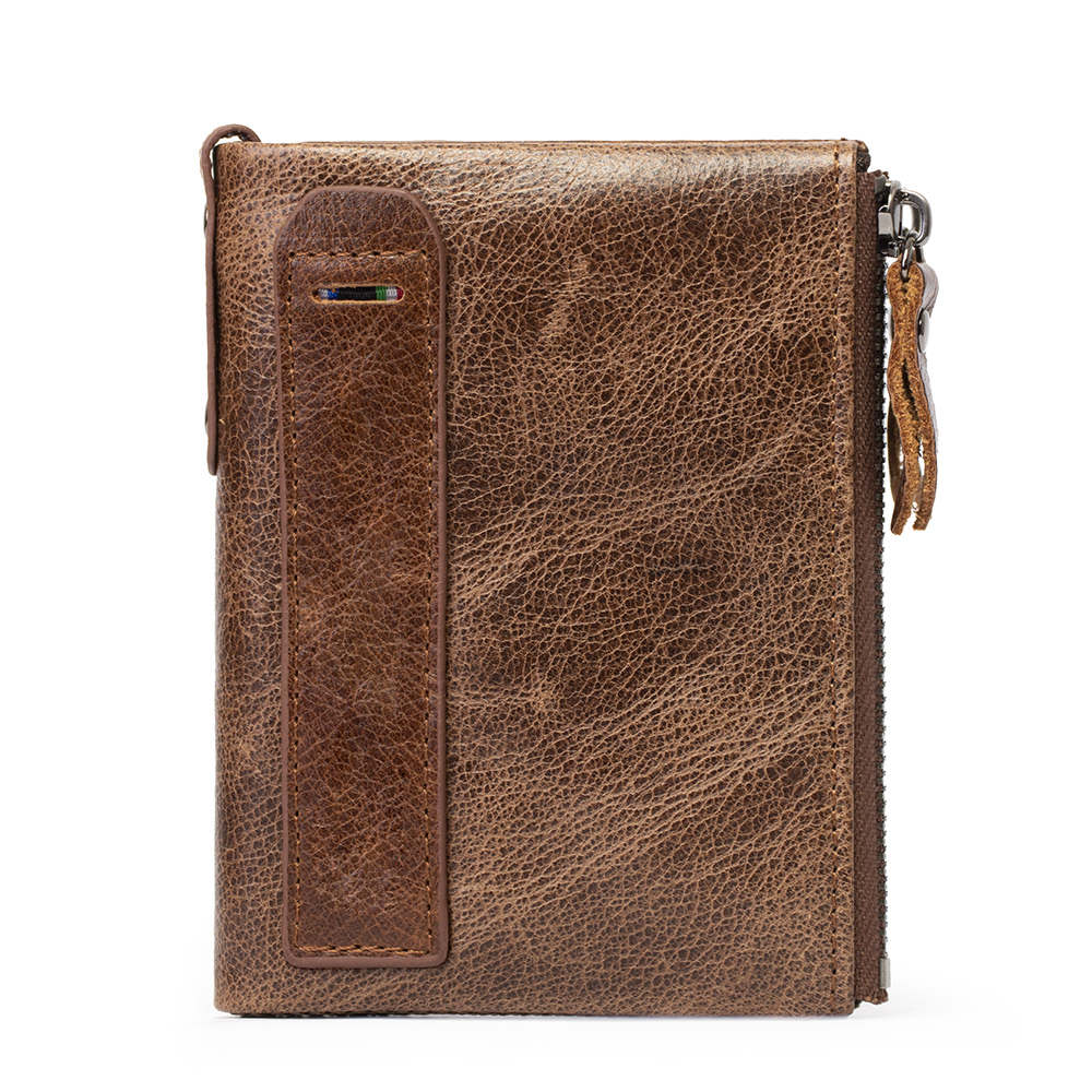 L.Poisson Men Wallet Guangzhou Factory Cow Leather Bifold Fashion Vintage Gents Purse with Double Coin Pocket