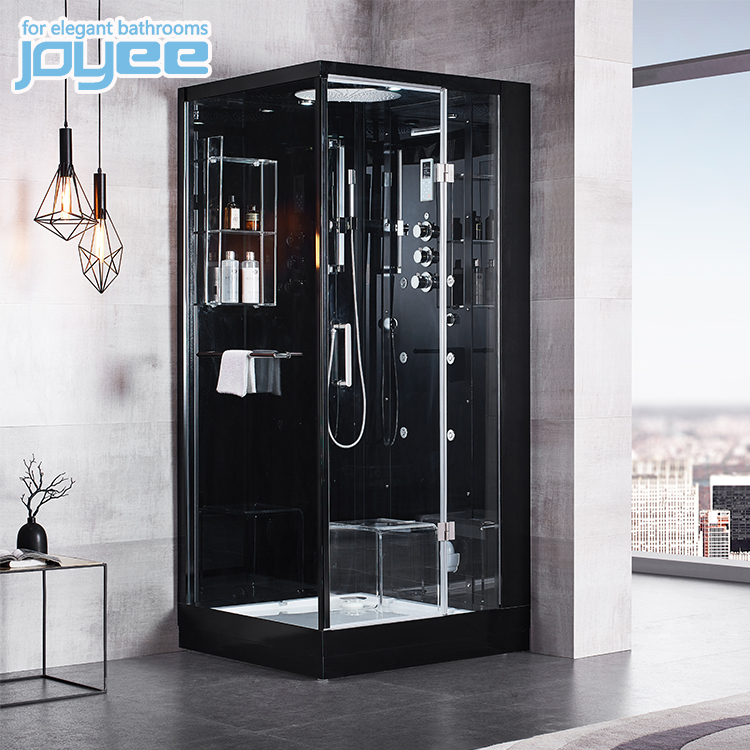 Joyee 2人ブラックコーナーガラスバスルームウェットスチームシャワールームバスキャンホテルの家のシャワーキャビン付き