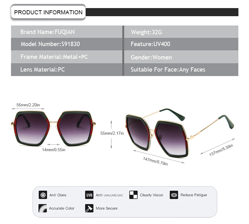 Fuqian Wholesale women's polarized mirrored sunglasses manufacturers-9
