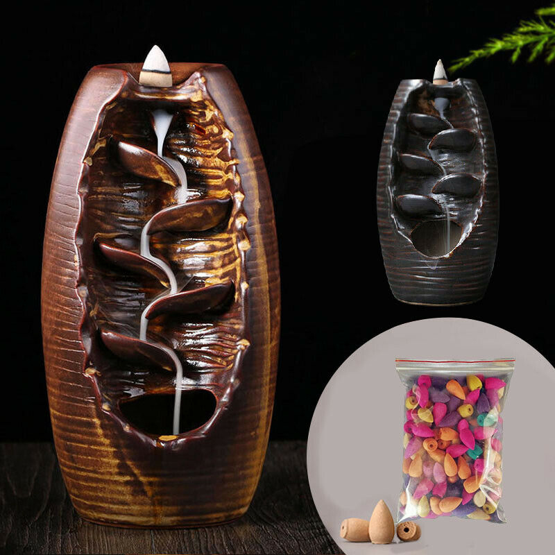 Quemador de incienso de cascada de reflujo de cerámica, soporte de incensario, decoración para el hogar Zen Tpye + 10 conos, envío directo
