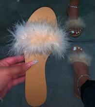 Меховые тапочки; Женская пикантная меховая обувь на плоской подошве; Модные женские шлепанцы с открытым носком; Вьетнамки размера плюс; Цве...(Китай)