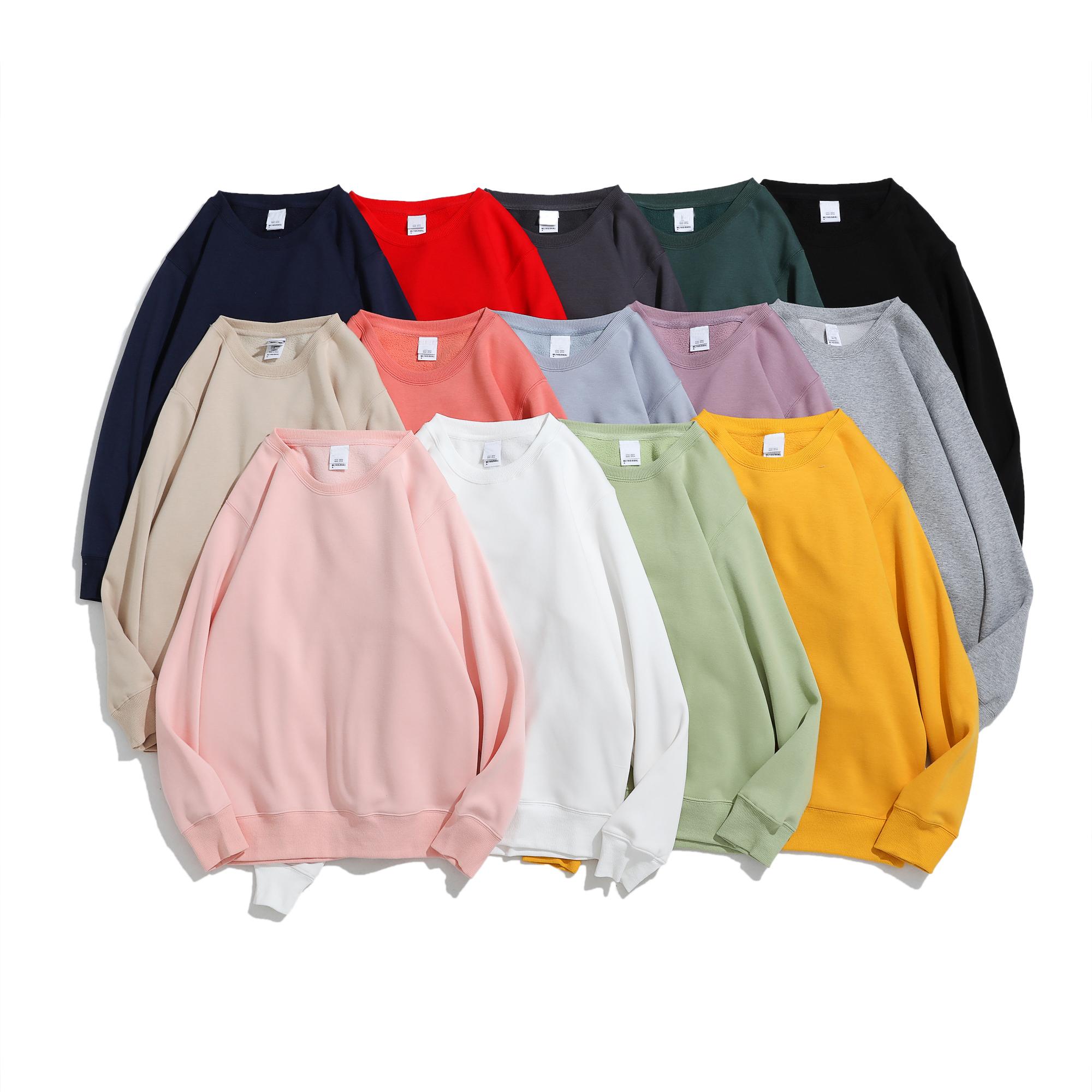 Plain Custom Long Sleeves Round Collar Comfortable Unisex Fleece Sweatshirt