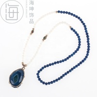 Beaded Long Necklace - Agate Pendant - Hand Made Natural Semi-Precious Stone Jewelry -Energy Stone (Y264)