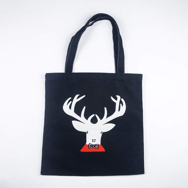 Printed custom reusable foldable shopping bag with zipper canvas
