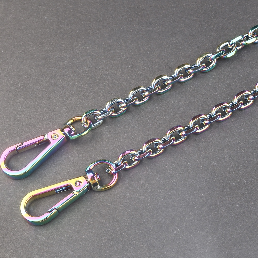 New color women lady purse bag parts rainbow quality rolo stainless steel chain for bag