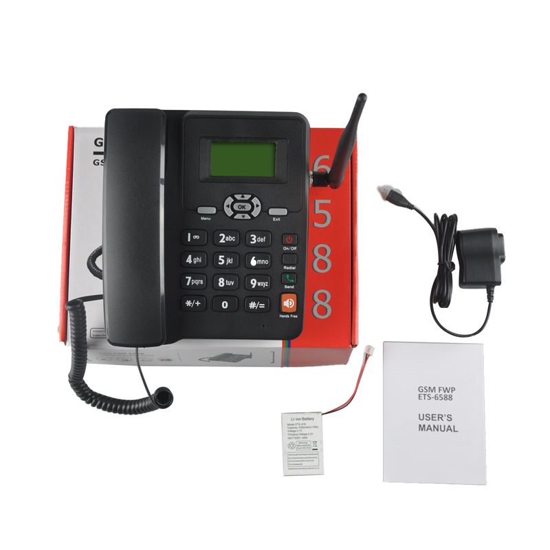 Dual SIM Land Phone GSM 6588 with External Antenna+French Spanish Supported Fixed Wireless Table Desktop Telephone