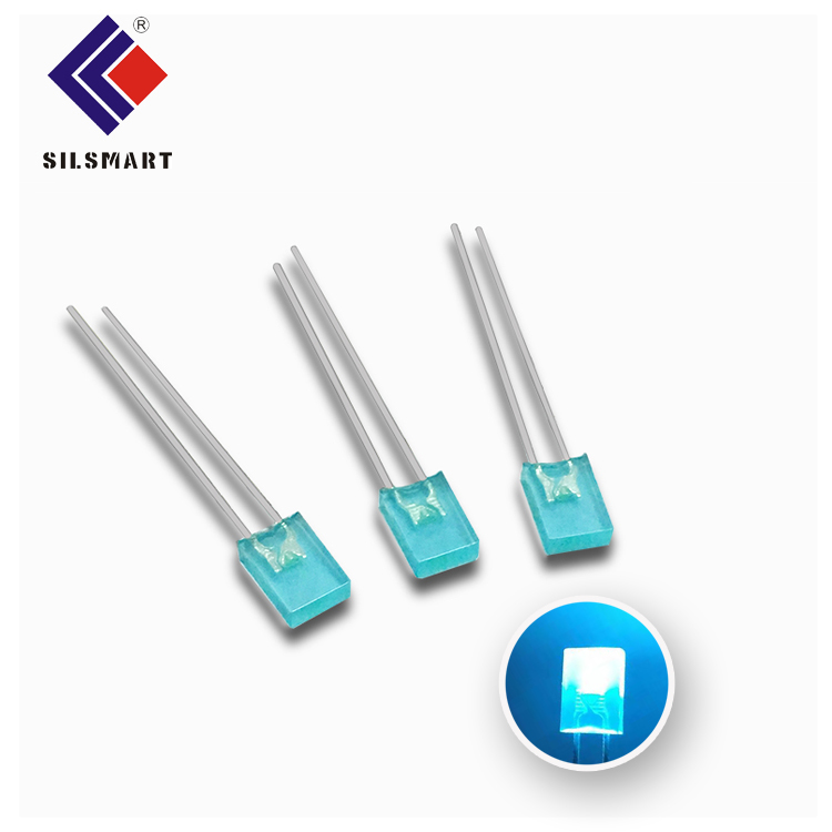 Silsmart factory wholesales 2019 new arrival Macaron Blue color dip led diffused 5mm square led <strong>diode</strong>