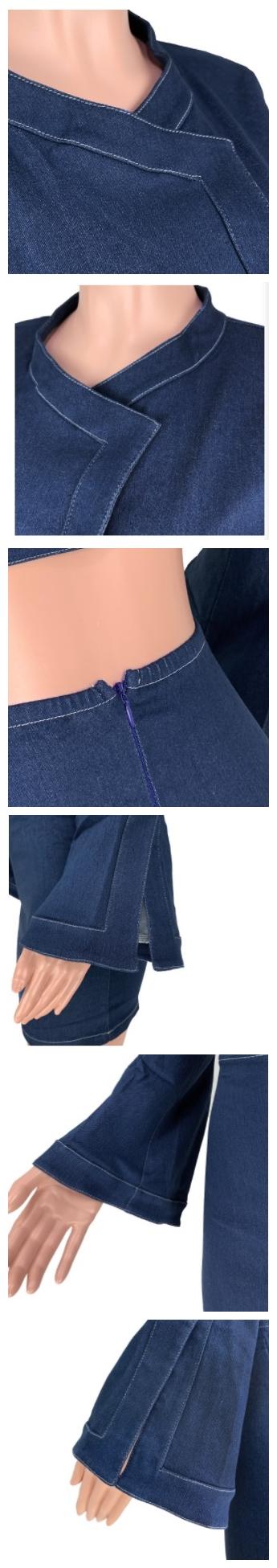 American women's trumpet sleeve zipper sexy button denim skirt  jeans 2 piece suit