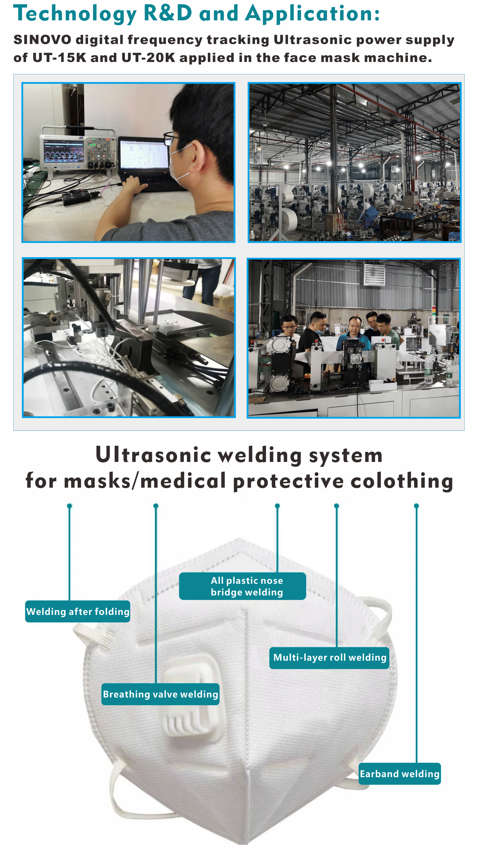 Ultrasonic welding and sealing machine for weld textiles and non-woven fabrics mask