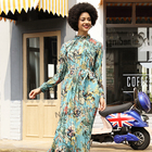 Long Sleeves Pleated Stand-up Collar Fashion Long Dress Printing Ladies Fashion Dress
