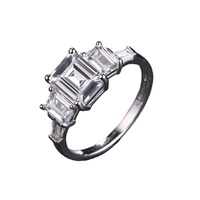 SAR55042 Three Stones Traditional emerald cut white gold engagement silver rings, diamond wedding rings