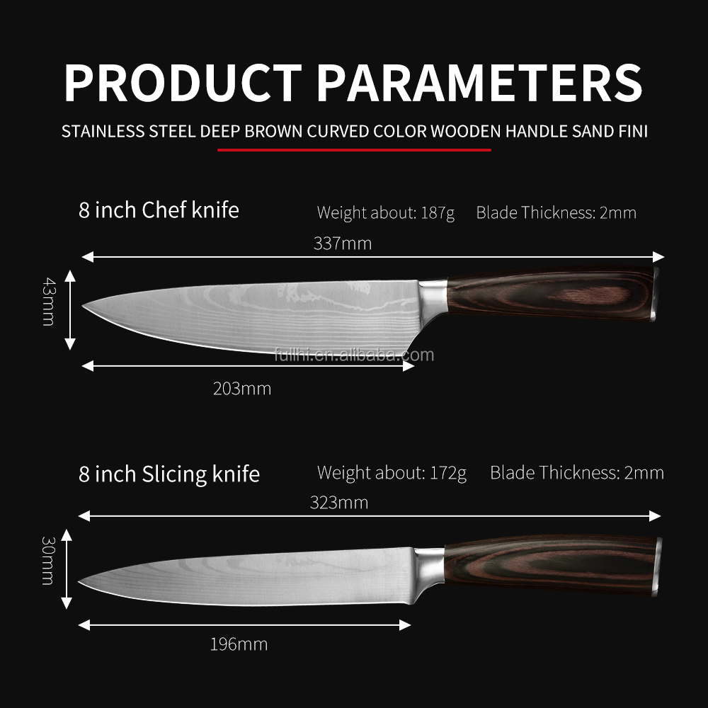 Factory 6pcs Kitchen Shears Stainless Steel Knives Pakka Wood Laser Damascus Pattern Blade Kitchen Knife Set with Scissors