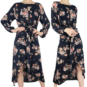 Wholesale Casual Dresses Women Lady Elegant Long Sleeve Floral Maxi Dress