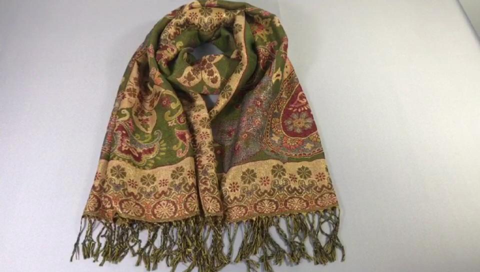 New arrival winter warm big cashew flower jacquard cashmere shawl scarf
