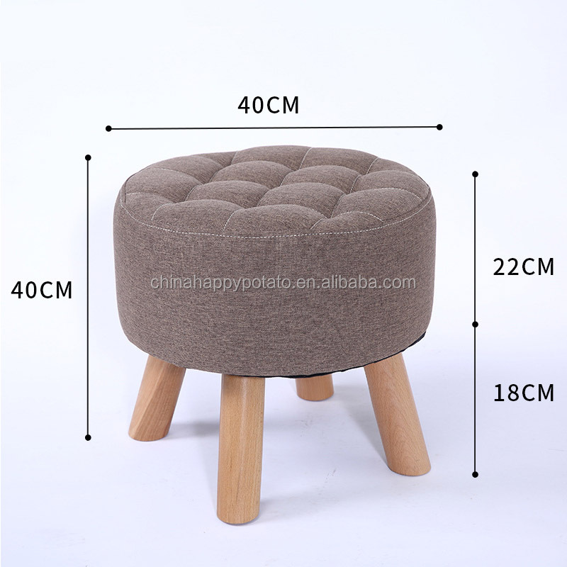 Wooden Footstool Ottoman Pouffe Stool Foot Rest Padded Seat Bedroom l