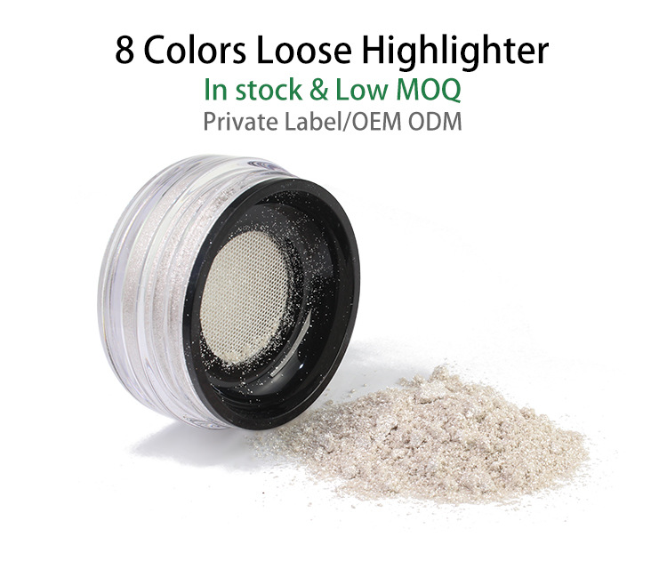 Best Selling Cheek Highlighter Powder in Bottle 8 Shades Private Label Loose Highlighter Makeup