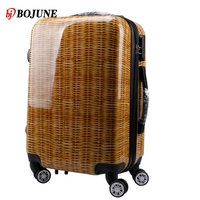 OEM bamboo pattern design luggage ABS printing luggage travel bag set
