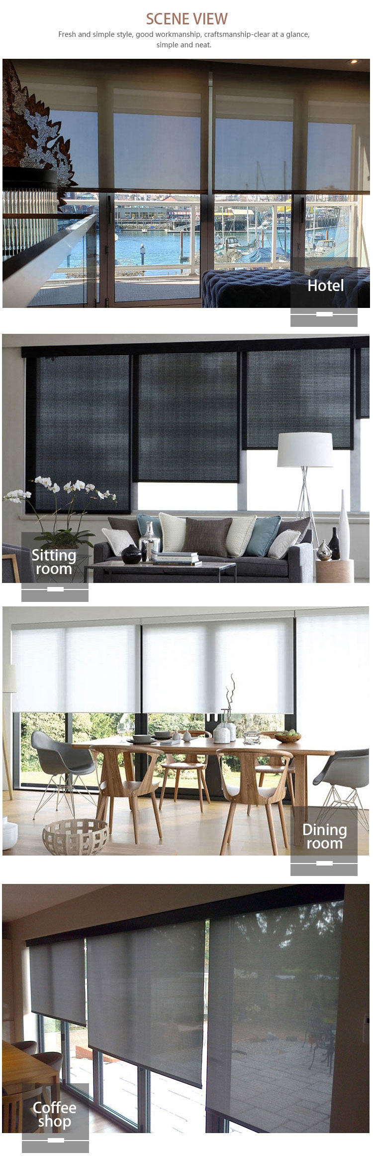 SUNC Wholesale Motorized blackout roller blind electric for Windows