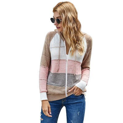 Coldker 2020 Spring Women New Arrival Rainbow Color <strong>Zip</strong> Open Front Knitted Ladies Striped Long Cardigan Sweater