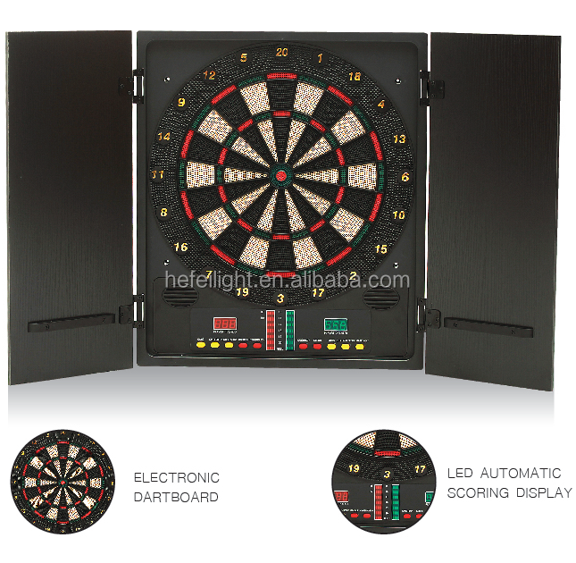 Professional ในร่ม DART อิเล็กทรอนิกส์เครื่องจอแสดงผล LED dartboard กับตู้