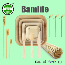 Food grade roosteren stok barbecue ronde tip bamboe spies kebab tool