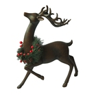 Home Decor Cast Iron Effect Resin Sitting Reindeer Statue with Polyresin Deer Figurine Christmas Decoration