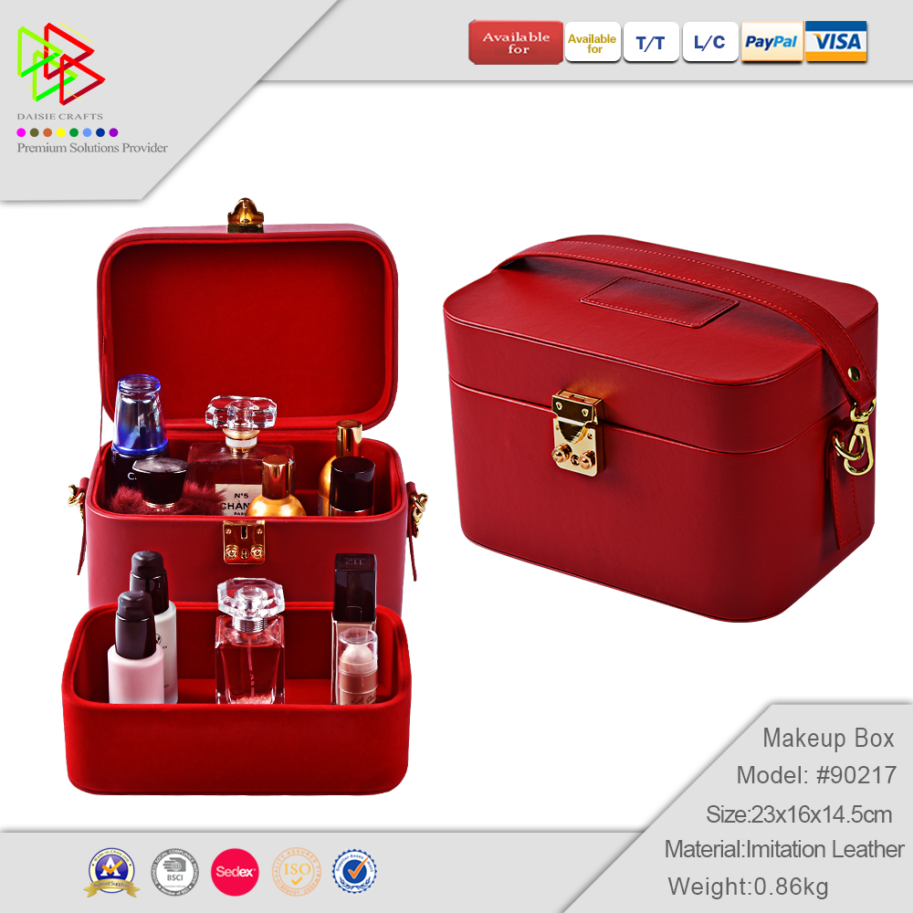 Wholesale Wooden Vintage Jewelry Wooden Leather Cover Cosmetic Makeup Kit Box