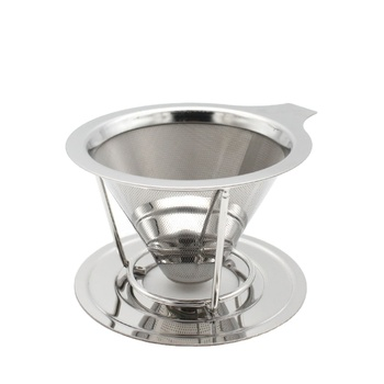 Reusable with Removable Cup Stand Coffee Dripper Pour Over Coffee Filter Cone Stainless Steel Coffee Filter