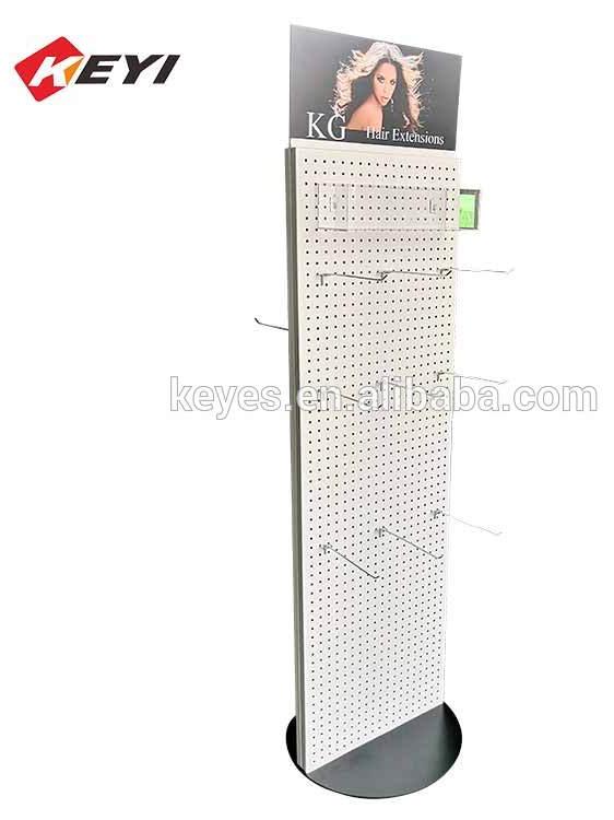 Personalizzato 4 lati nero rotante in metallo portachiavi display stand con caster