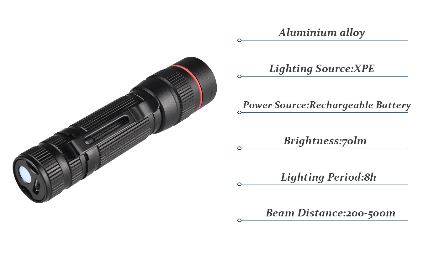 Donlyn Rechargeable LED Torch Light Aluminum Zoom Mini LED flashlight With Clip