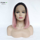 wholesale high quality synthetic color hair straight short bobo wigs with closure 13*4 lace front wigs for women