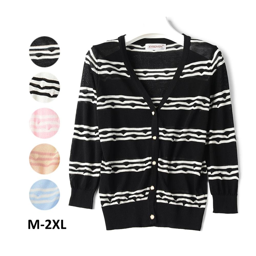 Amazon Hot Sale Buttons V Neck Knit Thin <strong>Long</strong> Summer <strong>Black</strong> White Striped Sweaters <strong>Cardigans</strong> for Women