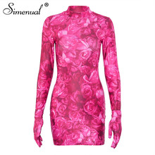 Simenual Цветочный принт сексуальная Для женщин Мини-платья с перчатки с длинными рукавами вечерние клубная одежда розового цвета Модные Bodycon п...(Китай)