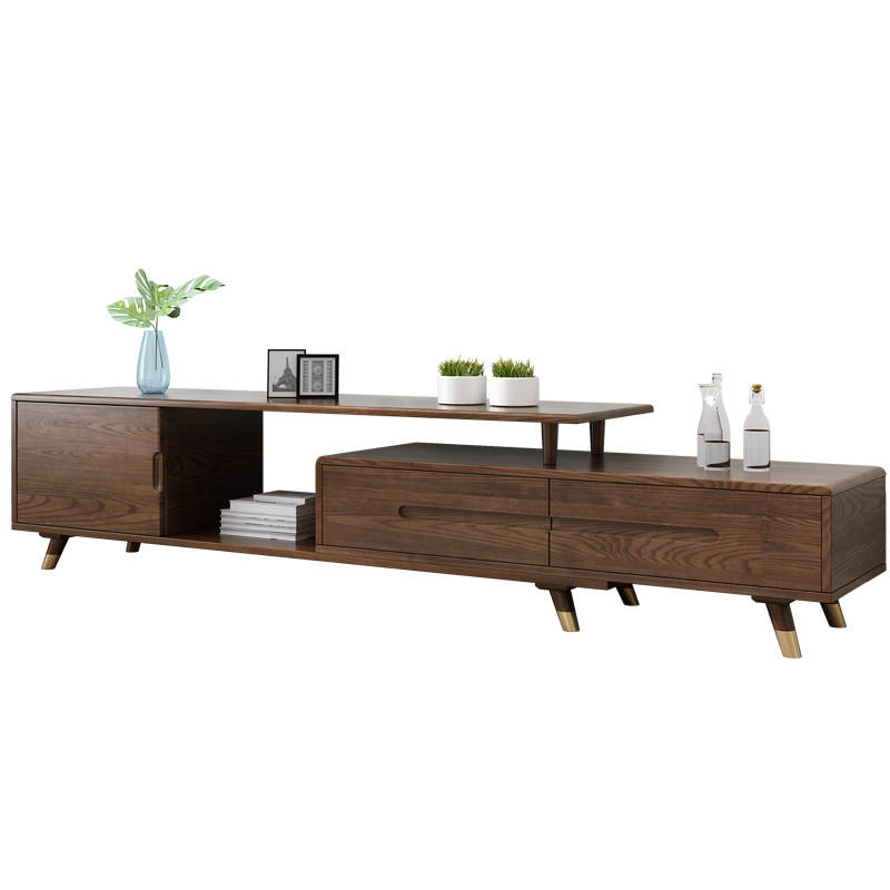 product-Modern wooden tv stand furniture extendable real wood tv cabinet designs for living room gol