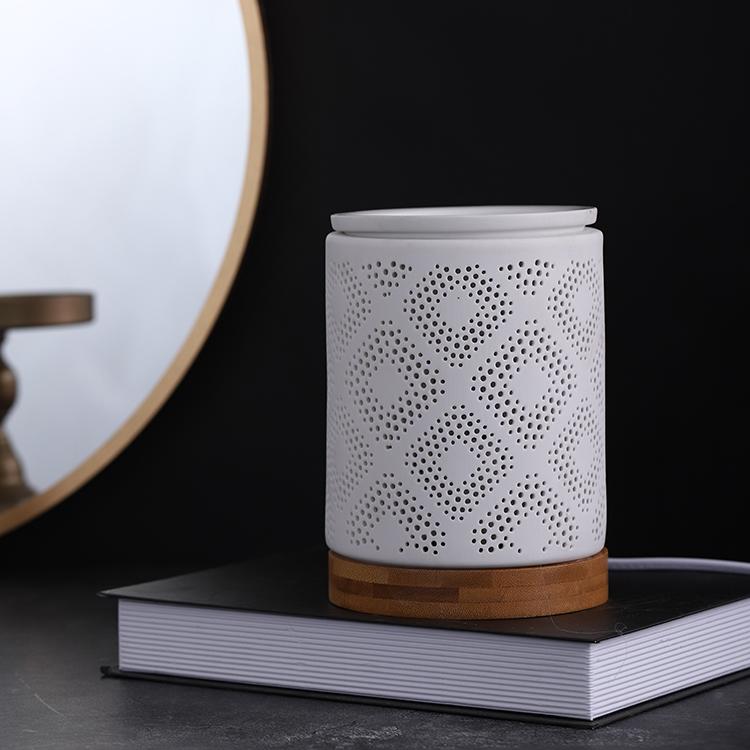 Wholesale bedside lamp ceramic led incense burners light with wooden base for bedroom