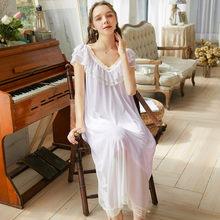 Ночная рубашка, розовая осенняя одежда для сна, винтажная белая хлопковая одежда размера плюс, Женская домашняя одежда, ночное платье для св...(China)
