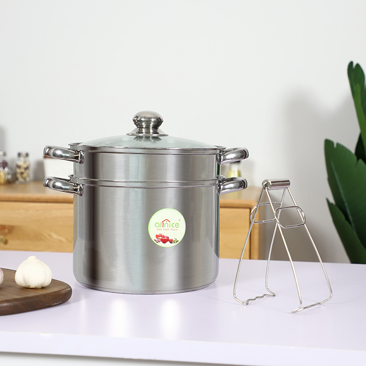 Factory cheap wholesale restaurant hot pot double layer stainless steel soup pot with clamp
