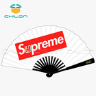 Large japanese custom hand fans bamboo handle silk folding hand fan