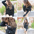 Cotton Hoodie New Ins Loose Cotton Plus Velvet Autumn And Winter Couples Champions Embroidery Hoodie Unisex Black Cotton