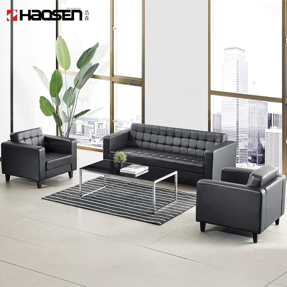 Foshan HAOSEN móveis de escritório/home Sala de estar sofá de couro Moderno conjunto (PU de couro Preto, SF119)