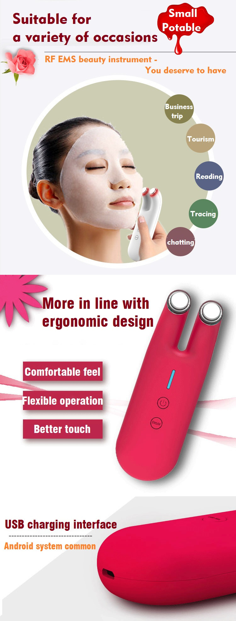 New arrival facial kit skin care oem machine home use portable RF EMS beauty instrument