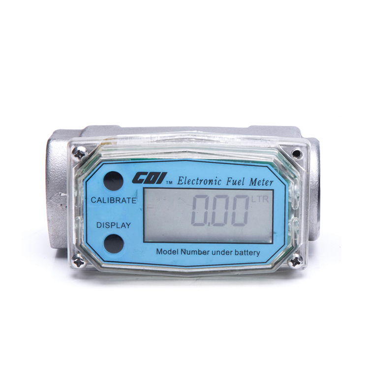 Electronic aluminum turbine digital diesel fuel flow meter with LCD display and 1 inch Inlet/outlet