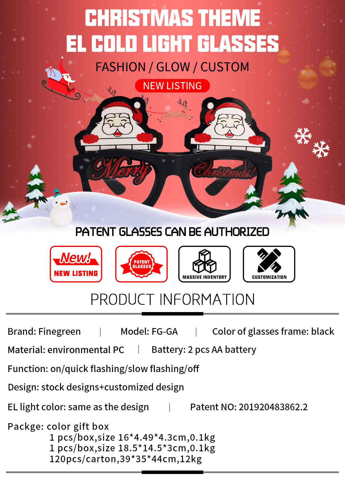 Christmas LED glasses High quality EL glasses High brightness at night Support customization