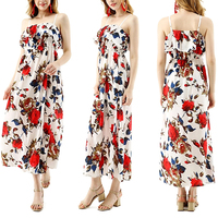 women clothes flower printed off shoulder frill casual dress 2020 for Female